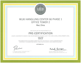 Pre-Certification under Leadership in Energy and Environmental Design (LEED) for Core and Shell Development - Gold Level