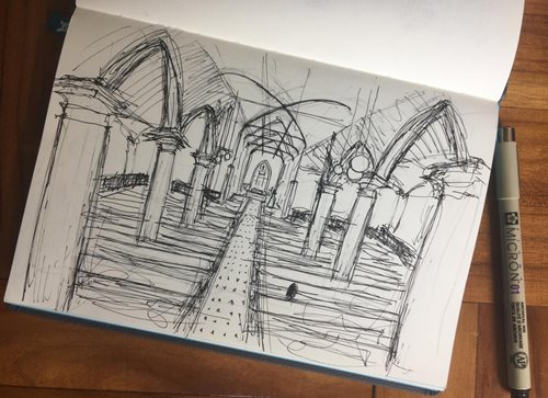During the virtual tour, students demonstrate their sketching skills. Some of their work is a comparable standard to sketches drawn by professional architects