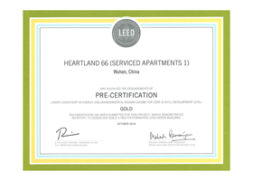 """Precertification under Leadership in Energy and Environmental Design (LEED) for Core and Shell Development – Gold Level"" and the second one is ""Precertification under Leadership in Energy and Environmental Design (LEED) for Core and Shell Development – Gold Level"""