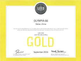 Certification under Leadership in Energy and Environmental Design (LEED) for Core and Shell Development - Gold Level