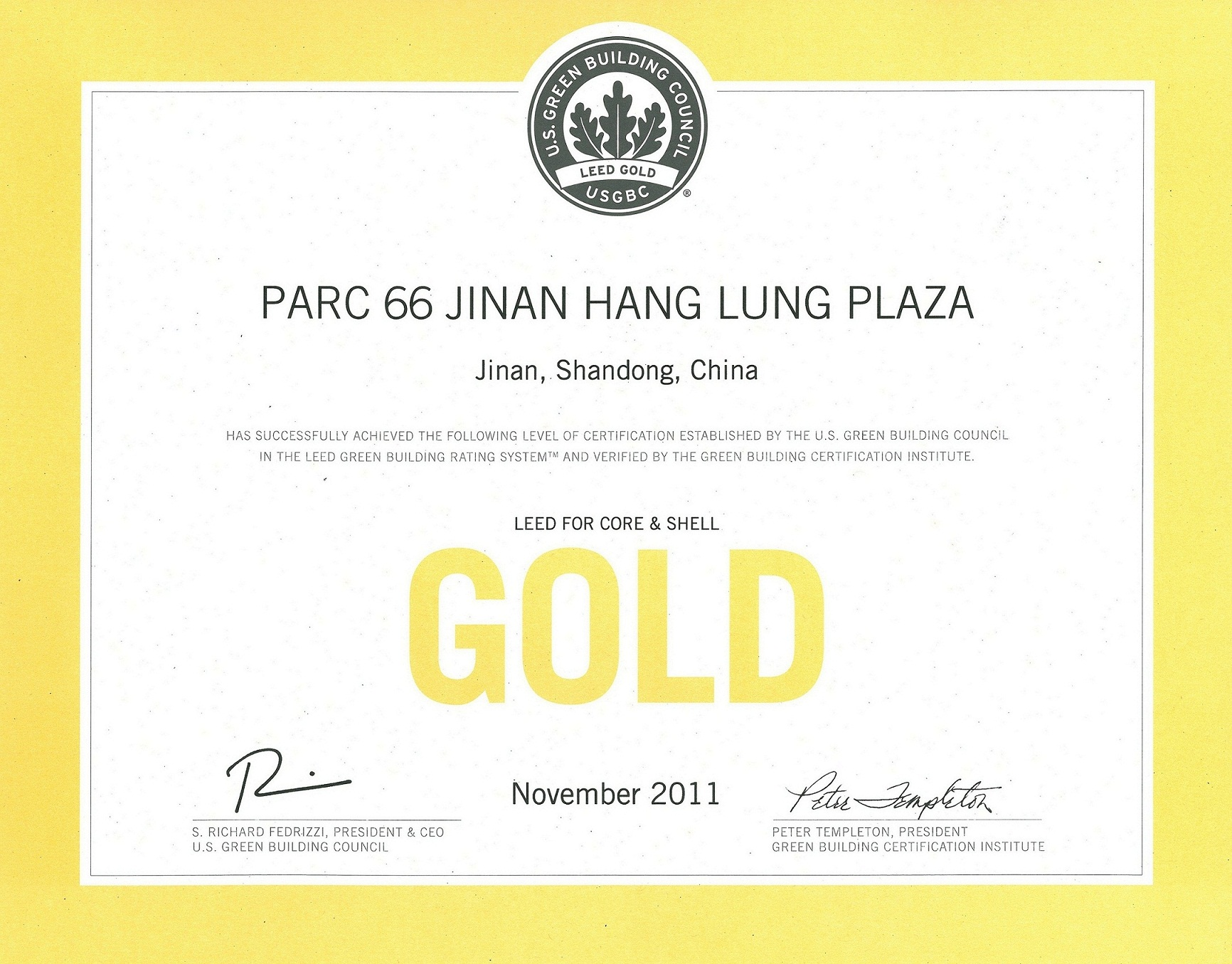 Hang Lung Parc 66 In Jinan Attains Gold Level Leed Certification
